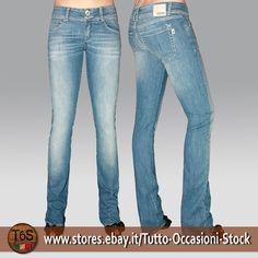 Pantalone Jeans Donna zampetta vita bassa cotone elasticizzato medio-chiaro