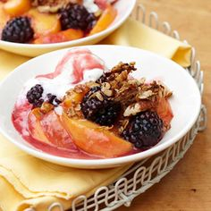 Stovetop Peach-Blackberry Crisp with Crunchy Oatmeal-Coconut Topping #myplate #fruit