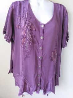 BOHO Hippie Tunic TOP Rayon Embroidery Purple Woman's Top SZ XL Seventh Avenue  #SeventhAvenue #ButtonDownShirt #Casual