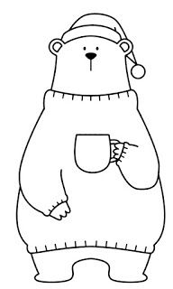 Cute Drawings: Bears, teddy bears and pandas Pretty Drawings, Doodle Drawings, Easy Drawings, Christmas Applique, Christmas Embroidery, Winnie The Pooh Drawing, Dibujos Cute, Christmas Drawing, Baby Kind