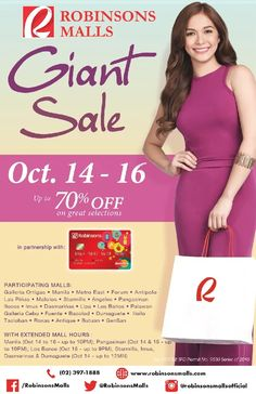 Check out Robinsons Malls' GIANT SALE!  Enjoy up to 70% OFF on great selections from participating stores mallwide!  Visit ALL Robinsons Malls nationwide on October 14 - 16, 2016.  For more promo deals, VISIT http://mypromo.com.ph/! SUBSCRIPTION IS FREE! Please SHARE MyPromo Online Page to your friends to enjoy promo deals!