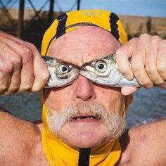 Dave Sawyers doing fish face again. Dave is a legend in Brighton swimming club check.