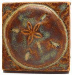Sand Dollar 2x2 Handmade Ceramic Art Tile Autumn Glaze. Will be blue.