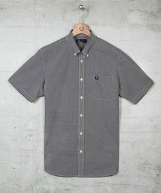 Classic short sleeved gingham shirt created in smooth cotton poplin, featuring traditional styling details, such as a button down collar, notched cuffs and patch pocket on the chest embroidered with our iconic Laurel Wreath design. Perfect layered under b Fred Perry, Gingham Shorts, Button Down Collar, Poplin, Men Casual, Laurel Wreath, The Originals, Classic, Cuffs