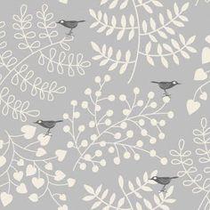 Quirky bird wallpaper for a craft studio #birdprint