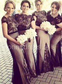 Newest Lace Mermaid 2016 Bridesmaid Dress Cap Sleeve Floor-length