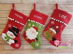 Personalised christmas stocking santa reindeer by Littlestitches1