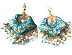 Orecchini di turchese oro Skyblue chandbali di taneesijewelry
