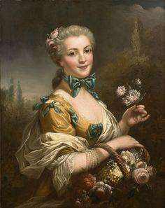 Dans le gout de François Hubert Drouais | Portrait de femme tenant un panier de fleurs