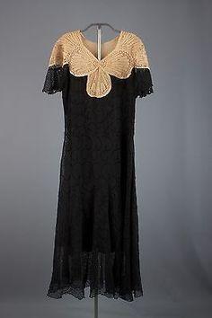 VTG 30s Black and Cream Eyelet Dress 1930s #1046