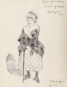 "Rosina Brandram as Dame Hannah in the original DOC production of ""Ruddigore"" at the Savoy Theater in 1887; pen and ink drawing by Fred Roe; signed and dated 1908 (""1908"" date possibly added at a different time than the signature?). From the National Portrait Gallery; estate of painter Fred Roe."