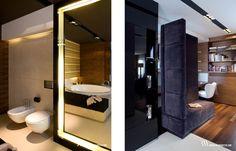 Elegancka łazienka w marmurze Crema Marfil z podświetlanym lustrem. www.bartekwlodarczyk.com
