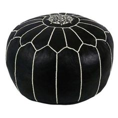 Jessa Leather Pouf in Black at Joss & Main