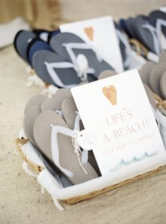 flip flops for guests at this seaside wedding Photography by Polly Alexandre / alexandreweddings., Event Design Planning by www. Beach Wedding Bridesmaids, Beach Wedding Guests, Seaside Wedding, Beach Wedding Favors, Wedding Favors For Guests, Nautical Wedding, Wedding Wishes, Our Wedding, Wedding Ideas