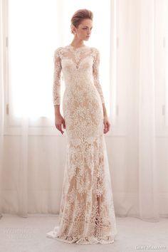 gemy maalouf bridal 2014 long sleeve lace wedding dress colored base 3744