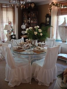 ..#dining room  #white... glass top table... lunch for four.... please invite me!