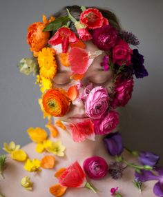 Flower Face Series, Jillian 2013 Kristen Hatgi Sink Rainbow Fashion flowers yellow pink coral purple green orange