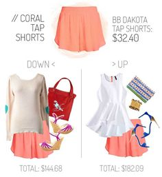 Coral tap shorts - both casual and fancy and everything is under $50!