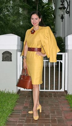 Kenar Linen Dress Suit; Ann Taylor Suede Shoes; Christian Dior Leather and Snakeskin Belt; Dooney & Bourke Leather Bag; Carnelian and Sterling Silver Jewelry; J. Crew Hair Barrettes.  A bright, professional outfit for a speaking engagement.  http://www.akeytothearmoire.com/post/24605846079/morning-sunshine