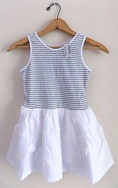 ♥ 8.99. More @salesfortoday ALSO CHECK OUT www.stores.ebay.com/jenscreationstx  The Childrens Place- Girls Drop Waist Flower Dress- Size 5-6- White Gray Striped