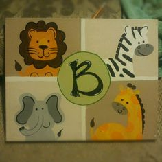 Jungle theme nursery canvas painting. By amanda birtley.