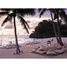 Romantic Outdoor Dining Room on The Beach with Coconut Trees and... ❤ liked on Polyvore featuring backgrounds and beach