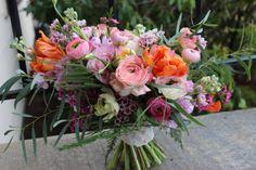 garden style lush romantic bridal bouquet ranunculus spring flowers tulips portland oregon florist  http://sophisticatedfloral.com