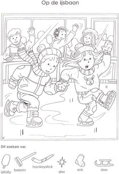 winterzoekplaat Winter Activities, Activities For Kids, School Coloring Pages, Hidden Pictures, Hidden Objects, Activity Sheets, Exercise For Kids, Winter Theme, Christmas Colors