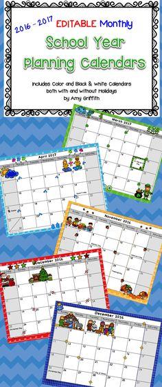 EDITABLE School Year Monthly Calendar 2016-2017 Colors, The o\u0027jays
