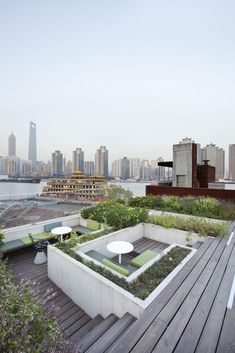 The Waterhouse at South Bund's roof terrace overlooking the Huangpu River in Shanghai, China by Neri & Hu Design and Research Office NHDRO