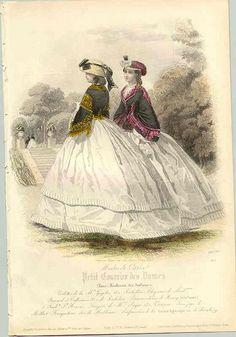 1861 - sortie - Ces deux dames portent des jaquettes à la zouave ou à la Garibaldi sur les larges jupes. Victoria et Elizabeth
