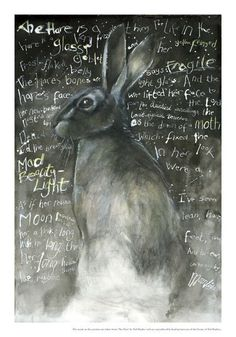 """""""The Hare"""" by Ted Hughes High quality giclee print. Signed, limited edition print run of Words from 'The Hare' used with the kind permission of the Ted Hughes Estate. Indian ink and acrylics on canvas. Free postage to the UK. Jack Rabbit, Rabbit Art, Illustrations, Illustration Art, Watership Down, Bunny Art, Oeuvre D'art, Hare, Beautiful Creatures"""