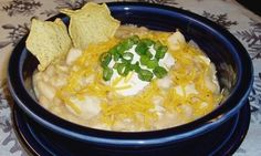 crock pot white chicken chili ... i think i would sub out the beans for another pound of chicken