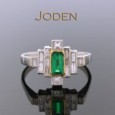 Handmade jewelry are wearable pieces of art to be enjoyed for generations. This ring set with long straight diamonds accenting an elongated emerald combine in a powerful design that will stand out from the rest. Modern Jewelry, Fine Jewelry, Imperial Topaz, Gemstone Colors, Jewelry Rings, Jewellery, Art Pieces, Handmade Jewelry, Bangles