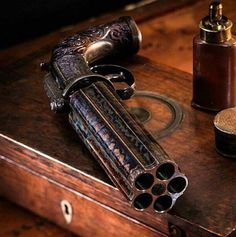 A 5 shot pepperbox revolver! Might look like a classic but it still packs a powerful BANG! Tag a friend you want to give this gun to in the comment section below. Double tap the image to show the love. Visit Gun Carrier TODAY for Weapons Guns, Guns And Ammo, Style Steampunk, Steampunk Weapons, Weapon Concept Art, Cool Guns, Fantasy Weapons, Self Defense, Percussion