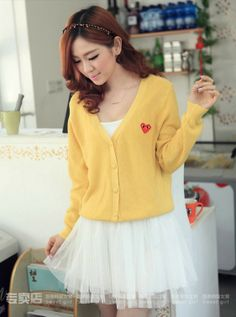 Cutesy Yellow Cardigan - The tiny heart print in this solid-colored, slouchy ensemble makes this cardigan too cute for words! www.kawaiikawaii.my #yellow_cardigans #outerwear_for_women #womens_cardigans #womens_fashion #womens_clothing