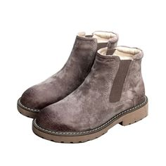 High Quality Nubuck Upper Wool Lining Chelsea Boots Elastic Ankle Boots