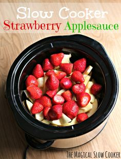 Slow Cooker Strawberry Applesauce - The Magical Slow Cooker. The Magical Slow Cooker. Since I don't eat sugar I would add stevia. I see potential to adapt this into other ideas too! Crock Pot Slow Cooker, Crock Pot Cooking, Slow Cooker Recipes, Crockpot Recipes, Cooking Recipes, Crock Pots, Strawberry Recipes, Apple Recipes, Baby Food Recipes