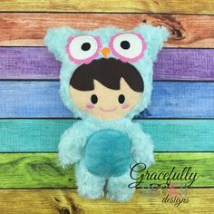 Owl Kid Stuffie ITH Embroidery Design - 4x4 Hoop or Larger