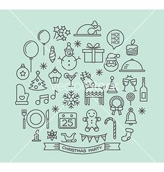 Christmas party elements outline icons set vector by kraphix on VectorStock®