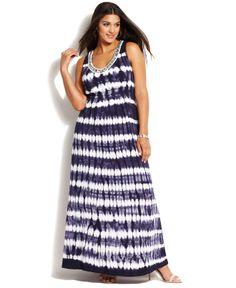 INC International Concepts Plus Size Embellished Tie-Dye Maxi Dress - Plus Size Dresses - Plus Sizes - Macy's