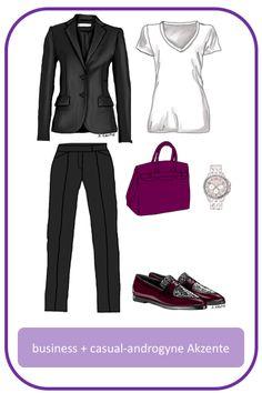 Business-Outfit mit androgynen, lässigen Akzenten