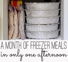 A month of freezer meals with shopping list