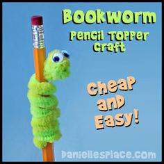 Bookworm Pencil Topper Back-to-school craft from www.daniellesplac… - Back To School Summer Crafts, Fun Crafts, Arts And Crafts, Worm Crafts, Ocean Crafts, Resin Crafts, Paper Crafts, Back To School Party, School Parties