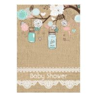 Burlap Rustic Lace Mason Jar Baby Shower Invitatio Card