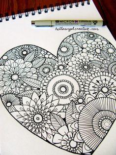 Easy doodle art - 40 Simple Mandala Art Pattern And Designs – Easy doodle art Doodles Zentangles, Zentangle Drawings, Doodle Drawings, Easy Zentangle, Flower Drawings, Heart Drawings, Drawing Sketches, Tangle Doodle, Drawing Flowers