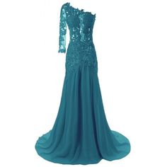 JAEDEN Women's One Shoulder Sexy Mermaid Evening Prom Dress Party Gown (240 AED) ❤ liked on Polyvore featuring dresses, gowns, sexy prom dresses, blue cocktail dresses, sexy cocktail dresses, one shoulder evening gowns and blue prom dresses