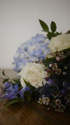 Blue hydrangea and garden rose bouquet Garden Rose Bouquet, Blue Wedding Flowers, Blue Hydrangea, Blue Flowers For Wedding