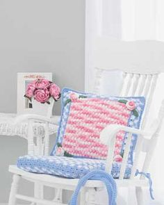 Crocheted a simple chair pad cover in a check for my Nana.  It's easy and FREE.  Not to my taste; but perfect for Nana who loves it
