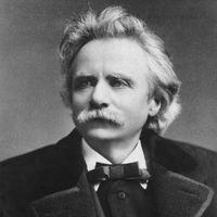 POrtrait et biographie de Grieg sur France musique.   .............. Pianiste de formation, Edvard Grieg est un compositeur norvégien de la période romantique. Il est particulièrement attaché à la mise en valeur du folklore norvégien au moyen de la musique.